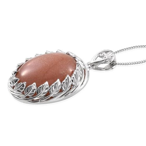 Morogoro Peach Sunstone (Ovl) Pendant With Chain in Platinum Overlay Sterling Silver 16.750 Ct.