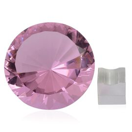 TJC Exclusive Diamond Cut Pink Glass Crystal with Stand (20cms) in a Gift Box