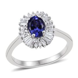 ILIANA 18K White Gold 1.15 Carat AAA Tanzanite Halo Ring With Diamond SI G-H