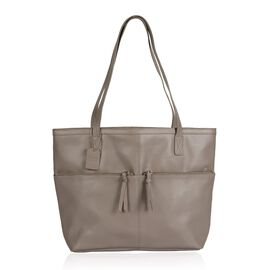 100% Genuine Leather RFID Blocker Grey Colour Tote Bag with 2 External Zipper Pocket (Size 32x30.5x13 Cm)
