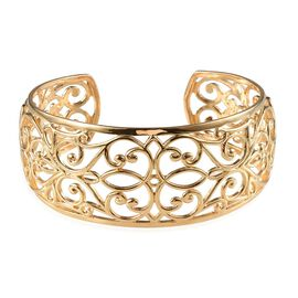 Filigree Cuff Bangle in ION Plated 18K Yellow Gold Bond (Size 7.5)