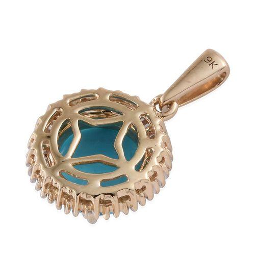 9K Y Gold AAA Arizona Sleeping Beauty Turquoise (Rnd 2.25 Ct), Diamond Pendant 2.500 Ct.