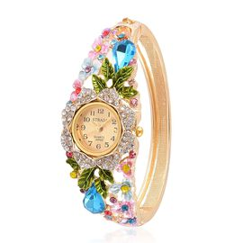 STRADA Japanese Movement Golden Sunshine Dial with Simulated Aquamarine and Multi Austrian Crystal Studded Floral Enameled Water Resistant Bangle Watch in Yellow Gold Tone with Stainless Steel