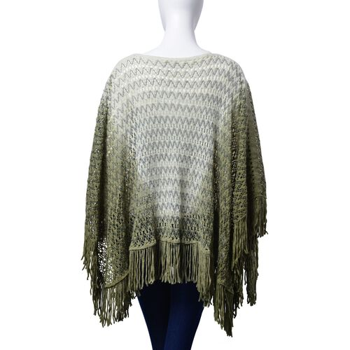 Light Green and Deep Green Colour Poncho (Size 100x55 Cm)