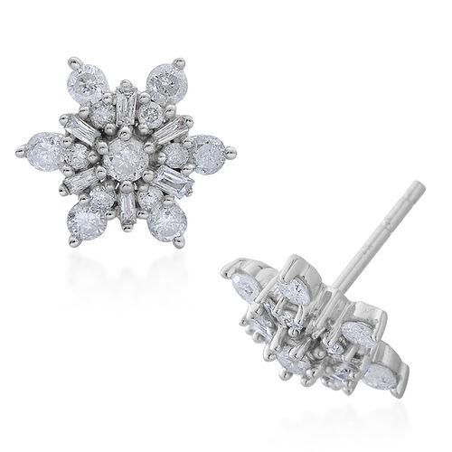 9K White Gold 1 Carat Diamond Snowflake Stud Earrings SGL Certified I3 G-H.