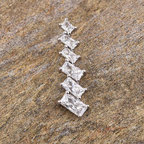 J Francis - Platinum Overlay Sterling Silver (Bgt) Pendant Made with SWAROVSKI ZIRCONIA
