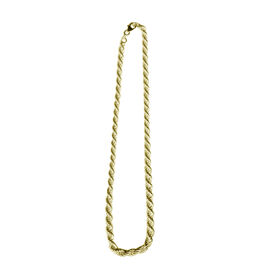 Vicenza Collection 14K Gold Overlay Sterling Silver Italian Rope Necklace (Size 18 with 2 inch Extender), Silver wt 15.80 Gms.