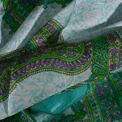 100% Mulberry Silk Green, Blue and Multi Colour Paisley Hand Screen Printed Scarf (Size 170X50 Cm)
