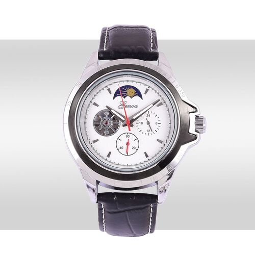 GENOA Automatic Skeleton White Dial Water Resistant Watch in Silver Tone with Stainless Steel Back and Black Strap