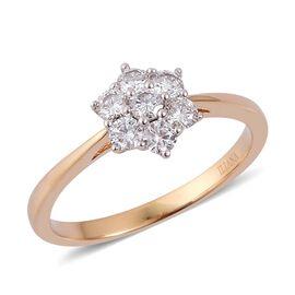 ILIANA 18K Y Gold IGI Certified Diamond (Rnd) (F-G/ SI) 7 Stone Floral Ring 0.500 Ct.