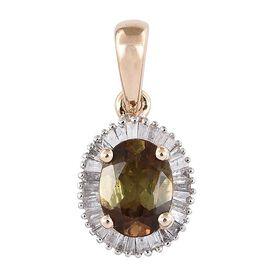 9K Y Gold Brazilian Andalusite (Ovl 1.02 Ct), Diamond Pendant 1.250 Ct.