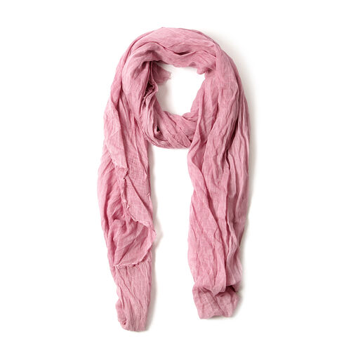 100% Cotton Pink Colour Printed Scarf (Size 220x100 Cm)