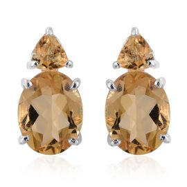 Citrine (Ovl) Earrings (with Push Back) in Sterling Silver 3.750 Ct.
