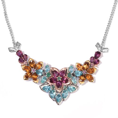 GP Rhodolite Garnet (Pear), Paraibe Apatite, Madeira Citrine, Kagem Zambian Emerald and Kanchanaburi Blue Sapphire Necklace (Size 18) in Platinum Overlay Sterling Silver 13.000 Ct.