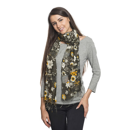 Super Auction- 65% Silk Yellow, Mud, Black and Multi Colour Artistic Floral Pattern Scarf with Fringes (Size 180x50 Cm)