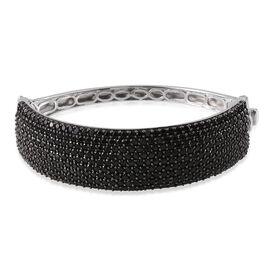 Boi Ploi Black Spinel (Rnd) Bangle (Size 7.5) in Platinum Overlay Sterling Silver 20.000 Ct.