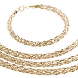 JCK Vegas Collection Yellow Gold Overlay Sterling Silver Necklace (Size 18 with 2 inch Extender), Silver wt 13.36 Gms.