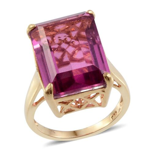 Radiant Orchid Quartz (Oct) Solitaire Ring in 14K Gold Overlay Sterling Silver 14.000 Ct.