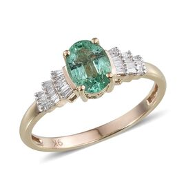 9K Y Gold Boyaca Colombian Emerald (Ovl 1.25 Ct), Diamond Ring 1.500 Ct.