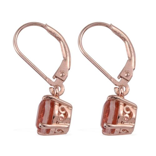 Morganite Colour Quartz (Rnd) Lever Back Earrings in Rose Gold Overlay Sterling Silver 3.000 Ct.