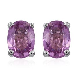 RHAPSODY 950 Platinum Pink Sapphire (Ovl) Stud Earrings (with Screw Back) 1.500 Ct.