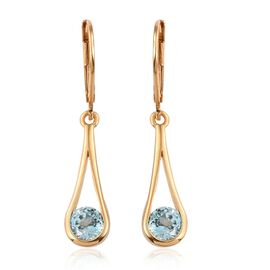 AA Natural Cambodian Blue Zircon (Rnd) Lever Back Earrings in 14K Gold Overlay Sterling Silver 2.000 Ct.