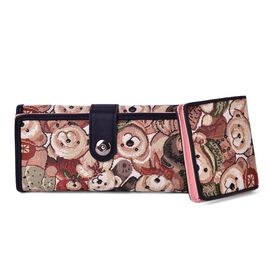 Set of 2 - Black with Multi Colour Christmas Bear Pattern Long Wallet (Size 19x9x2.5 Cm) and Short Wallet (Size 10.5x8 Cm)