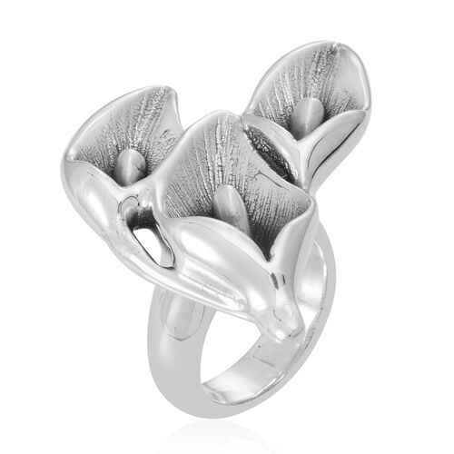 Statement Collection Sterling Silver Lily Floral Ring, Silver wt 10.00 Gms.