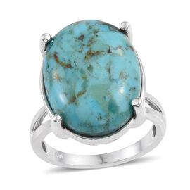 Arizona Matrix Turquoise (Ovl) Ring in Platinum Overlay Sterling Silver 15.000 Ct.