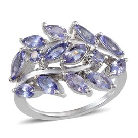 Tanzanite (Mrq) Ring in Platinum Overlay Sterling Silver 2.900 Ct.