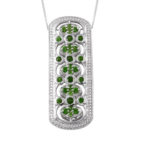 Russian Diopside (Rnd) Pendant With Chain in Platinum Overlay Sterling Silver 2.250 Ct.