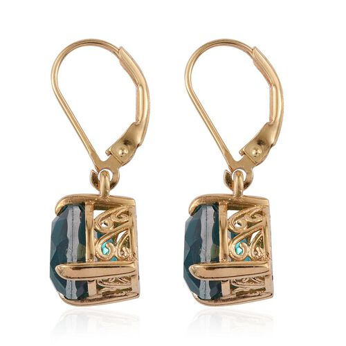 Capri Blue Quartz (Pear) Earrings in 14K Gold Overlay Sterling Silver 5.250 Ct.