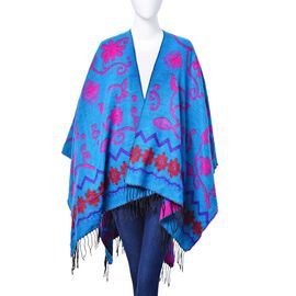 Fuchsia and Red Colour Floral Pattern Blue Colour Poncho (Size 130x75 Cm)