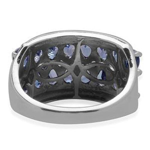 Tanzanite (Pear) Ring in Platinum Overlay Sterling Silver  2.500 Ct.