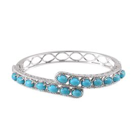Arizona Sleeping Beauty Turquoise (Ovl) Bangle in Platinum Overlay Sterling Silver (Size 7.5) 6.750 Ct.