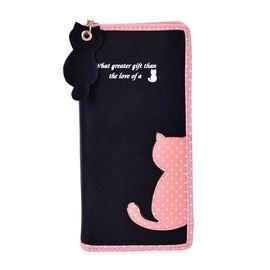 Cat Charm Black and Pink Colour Wallet (Size 19x9x3 Cm)
