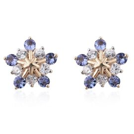 9K Yellow Gold 1.65 Carat Ceylon Blue Sapphire, Natural Cambodian Zircon Snowflake Stud Earrings.