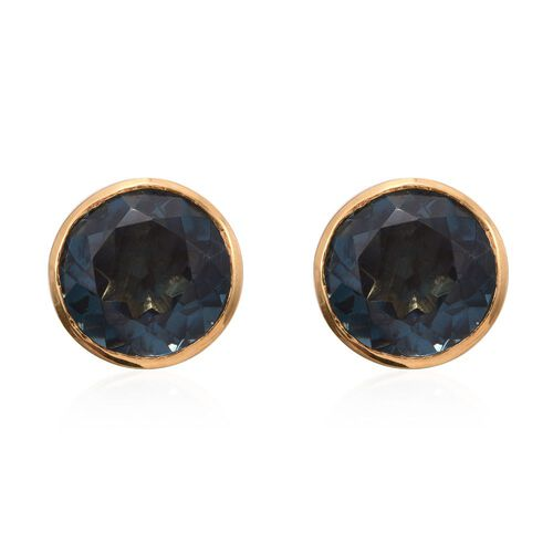 Indicolite Quartz (Rnd) Stud Earrings (with Push Back) in 14K Gold Overlay Sterling Silver 8.750 Ct.