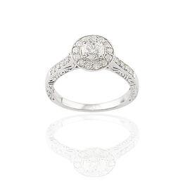 9K White Gold SGL Certified Diamond (Rnd 0.50 Ct) (I3/G-H) Ring 1.000 Ct.
