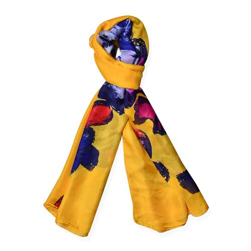 Blue, Fuchsia and Multi Colour Floral Pattern Yellow Colour Scarf (Size 180x90 Cm)