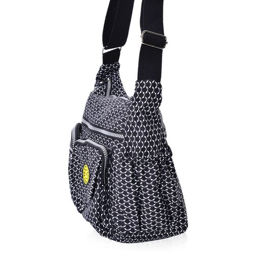 Black and White Colour Waterproof Sports Bag with External Zipper Pocket and Adjustable Shoulder Strap (Size 32X27X11.5 Cm)