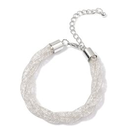 AAA White Austrian Crystal Bracelet (Size 7 with 2 inch Extender) in Silver Tone