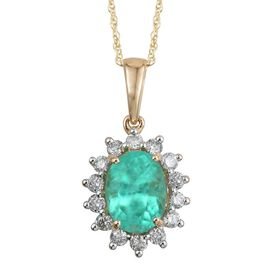 14K Y Gold Boyaca Colombian Emerald (Ovl 2.65 Ct), Diamond Pendant With Chain 3.150 Ct.
