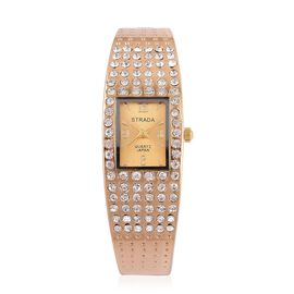 STRADA AAA Austrian Crystal Studed Bangle Watch in Silver Tone - Yellow Gold tone