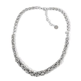 Limited Available- Graduated Byzantine and Spiga Necklace (Size 20 with 2 inch Extender) in Silver Tone