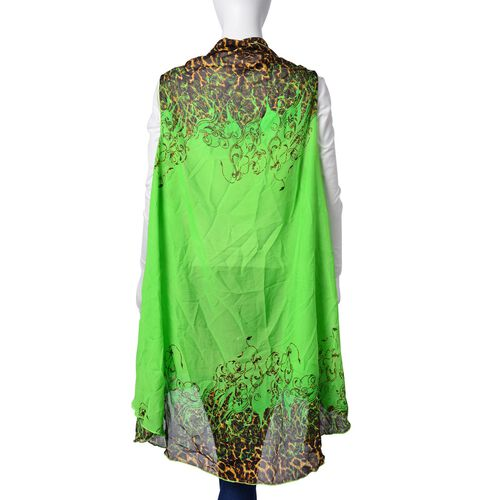 Leopard Printed Green Colour Poncho (Free Size)