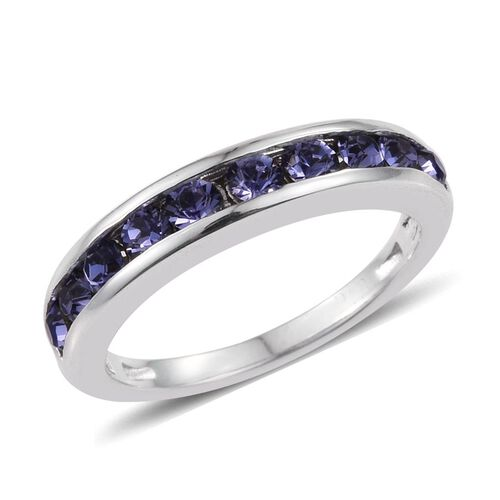 Set of 3 - Crystal from Swarovski - Peridot Colour Crystal (Rnd), Sapphire Colour Crystal and Tanzanite Colour Crystal Half Eternity Band Ring in Platinum Bond