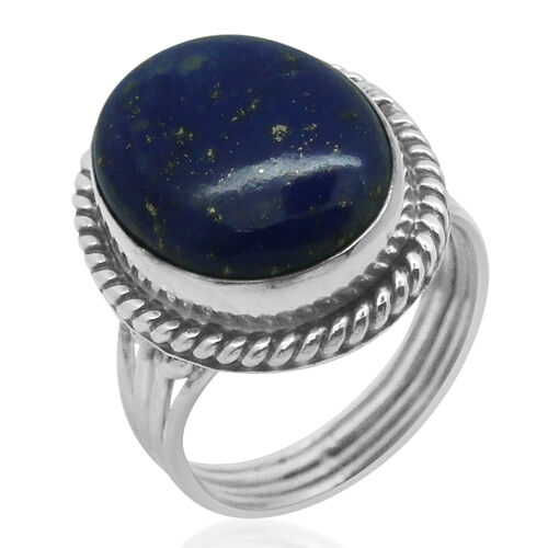 Royal Bali Collection Lapis Lazuli (Ovl) Solitaire Ring in Sterling Silver 10.670 Ct.
