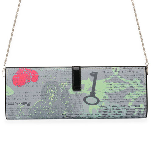 Grey Colour Printed Hand Bag with Removable Chain Strap (Size 30x12x5 Cm)