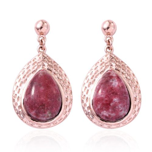 Norwegian Thulite (Pear) Earrings in Rose Gold Overlay Sterling Silver 12.000 Ct.